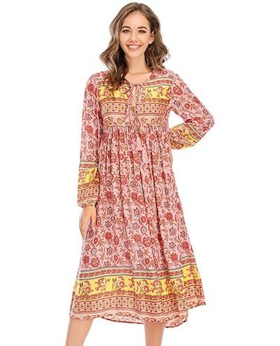 R.Vivimos Women's Long Sleeve Floral Print Midi Dresses