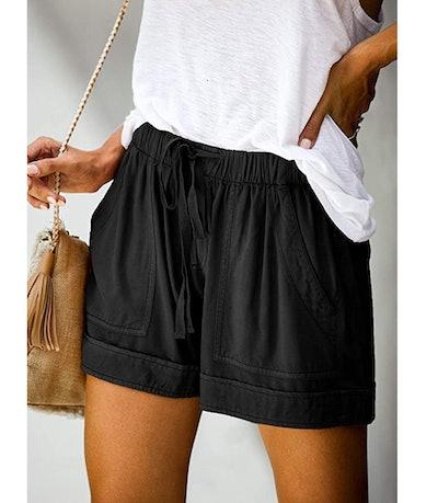 Elapsy Womens Casual Drawstring Elastic Waist Summer Shorts