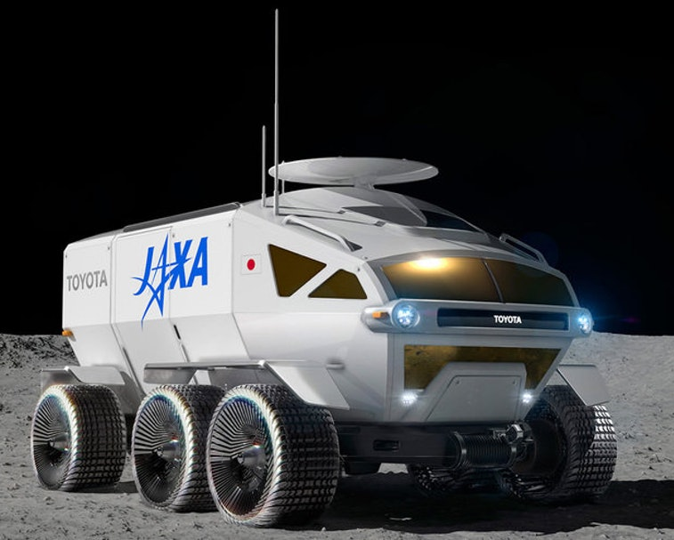 A side-view rendering of the Lunar Cruiser on the Moon.