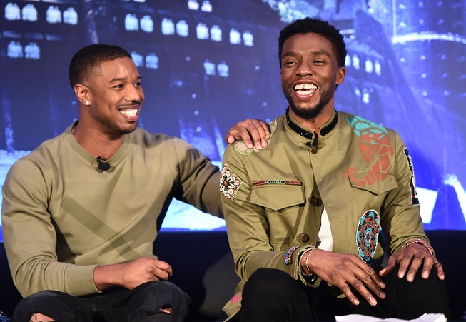 Actors Michael B. Jordan (L) and Chadwick Boseman attend the Marvel Studios' BLACK PANTHER Global Junket Press Conference on January 30, 2018 at Montage Beverly Hills in Beverly Hills, California.