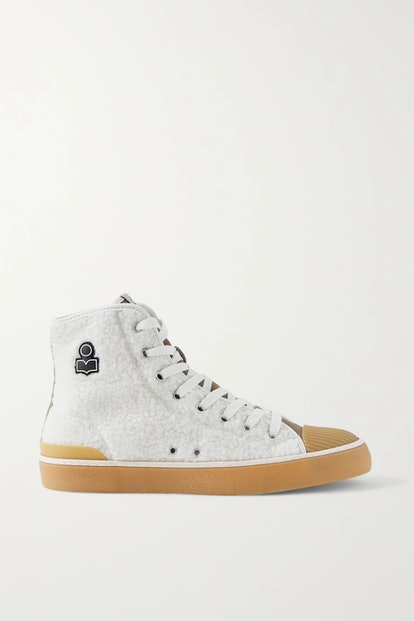Benkeen Suede, Canvas And Rubber-Trimmed Faux Shearling Sneakers