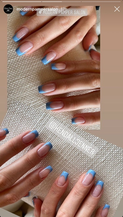 Kendall Jenner's blue French manicure features a square shape
