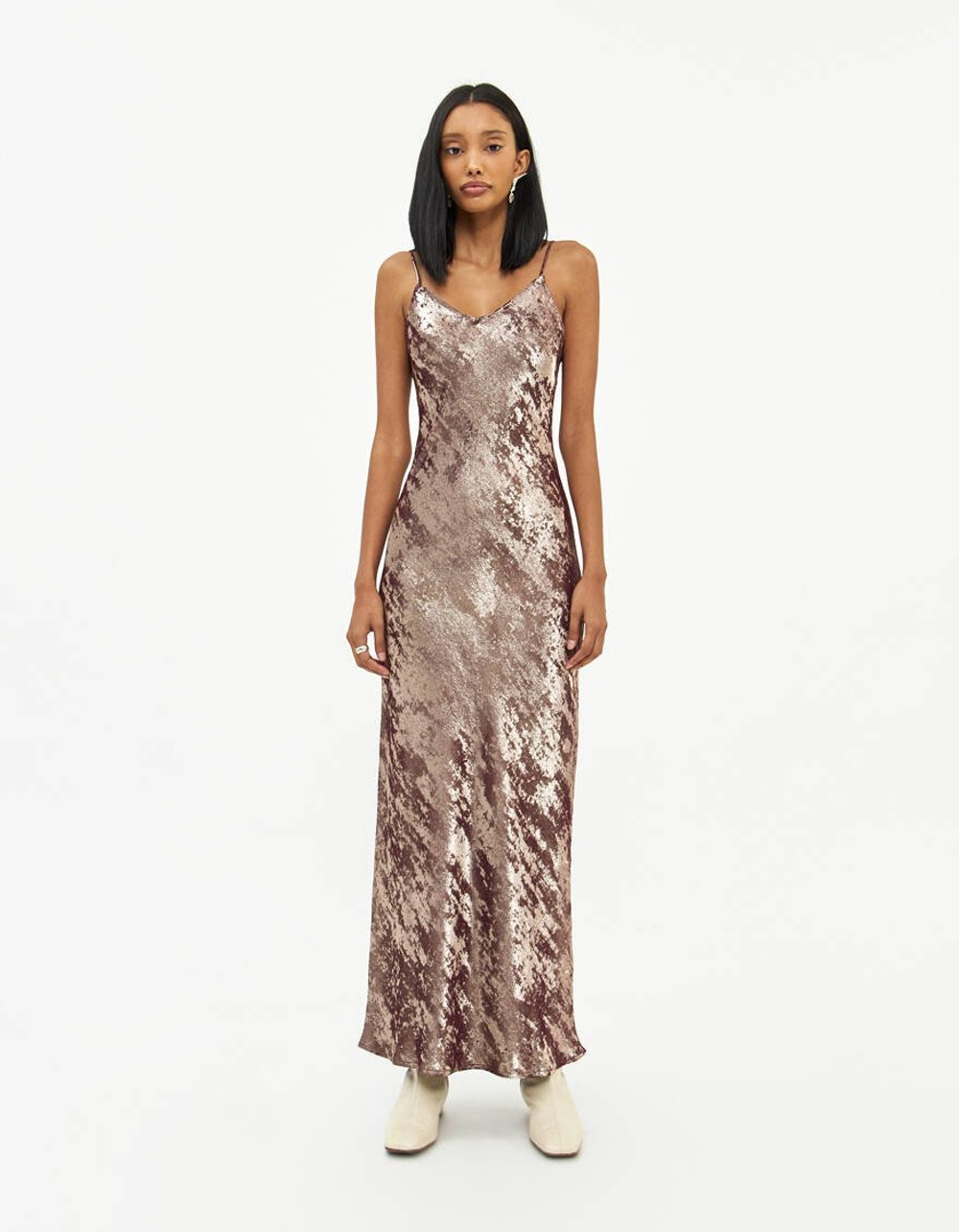 Laila Burnout Dress in Burgundy