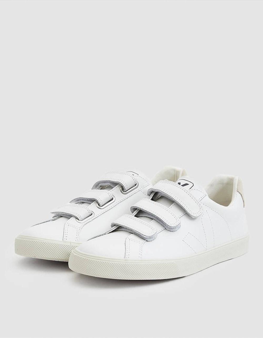 Esplar Leather 3-Lock Sneaker In Extra White in White