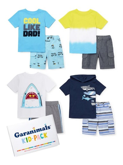 Garanimals Baby Boys & Toddler Boys Mix & Match Shorts Outfits Kid-Pack Gift Box, 8pc Set (12M-5T)