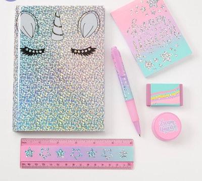 Pastel Ombre Glitter Unicorn Stationary Set
