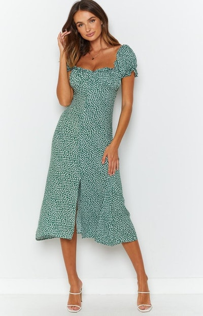 Plus One Midi Dress Green Floral
