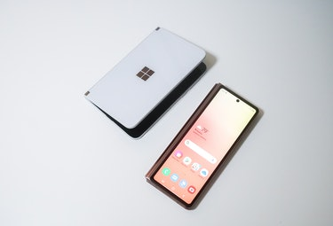 The Surface Duo doesn't have a cover display. The Galaxy Z Fold 2 has a big 6.2-inch Super AMOLED screen.