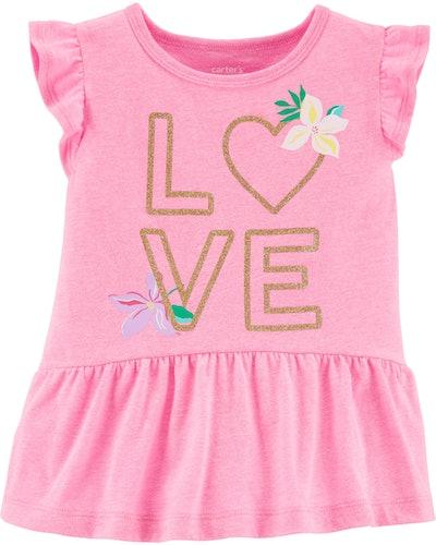 Glitter Love Peplum Top in Neon Pink