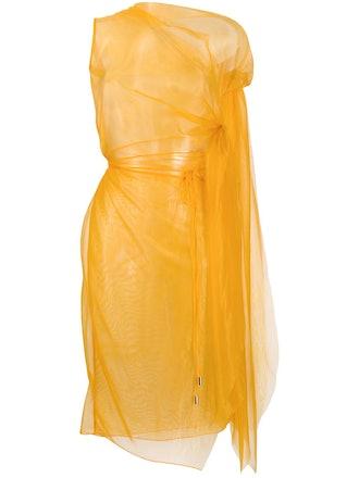 sheer asymmetric dress