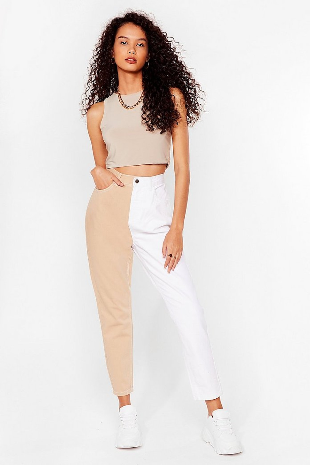 Nasty Gal Two-Tone's the Charm High-Waisted Mom Jeans