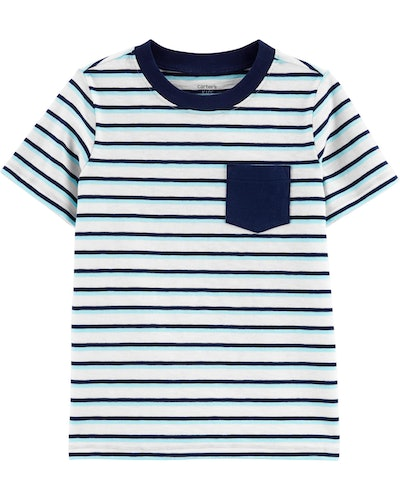 Striped Pocket Jersey Tee in Blue/White