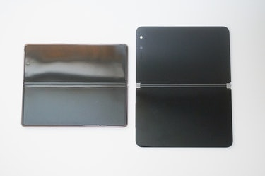 The Fold 2 (left) and its crease-and-all bendable display. The Surface Duo (right) with its big bezels.