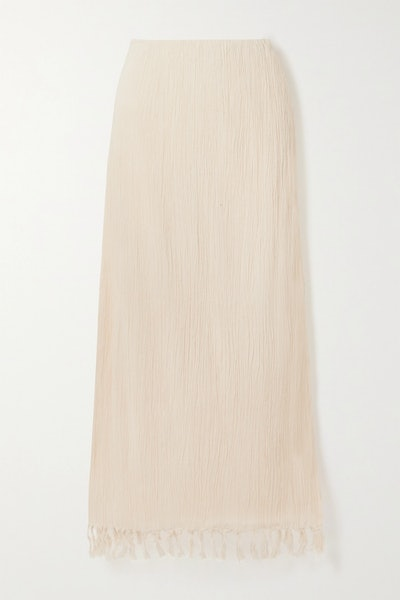 The Jaya fringed crinkled organic cotton-gauze maxi skirt