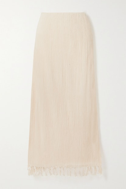 The Jaya fringed crinkled organic cotton-gauze maxi skirt