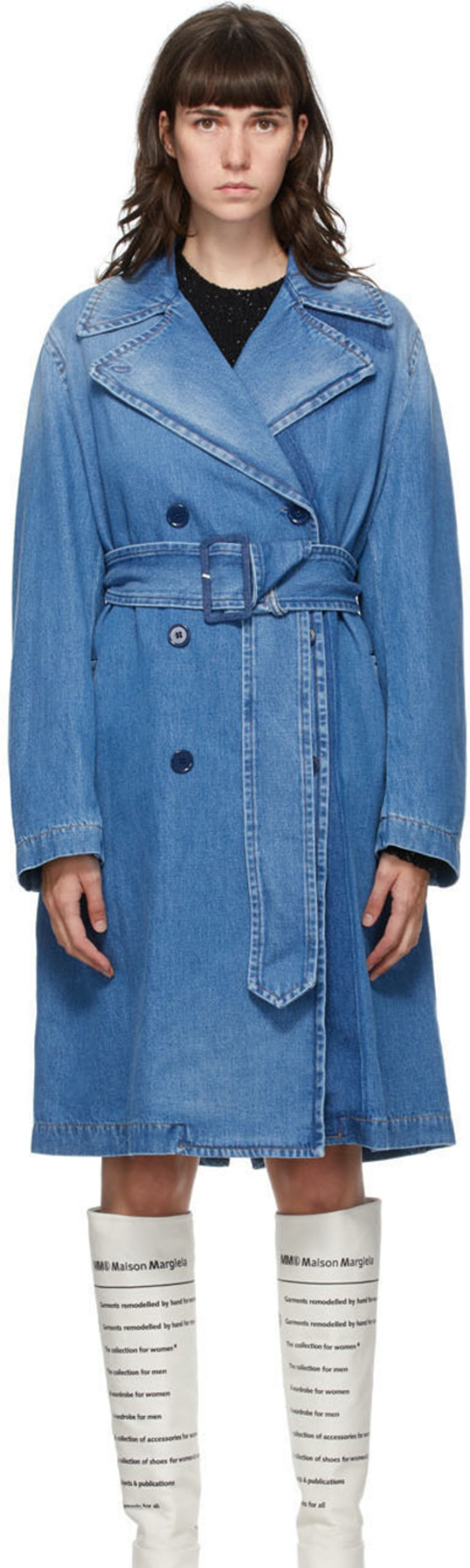 Blue Denim Shadow Trench Coat
