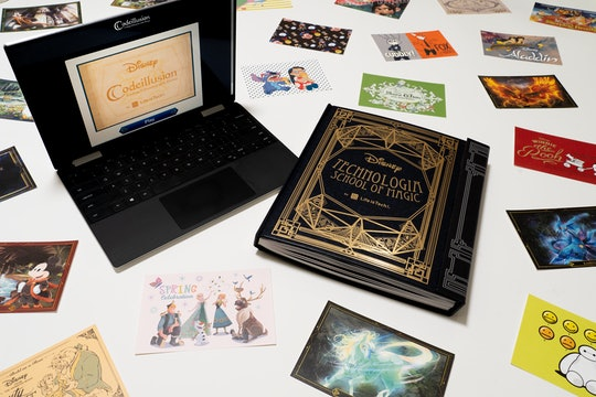 Promo image for Disney's Codeillusion product; laptop, Codeillusion book, and famous movie postcards scattered around