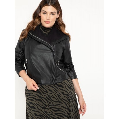 ELOQUII Elements Women's Plus Size Faux Leather Jacket with Shawl Collar