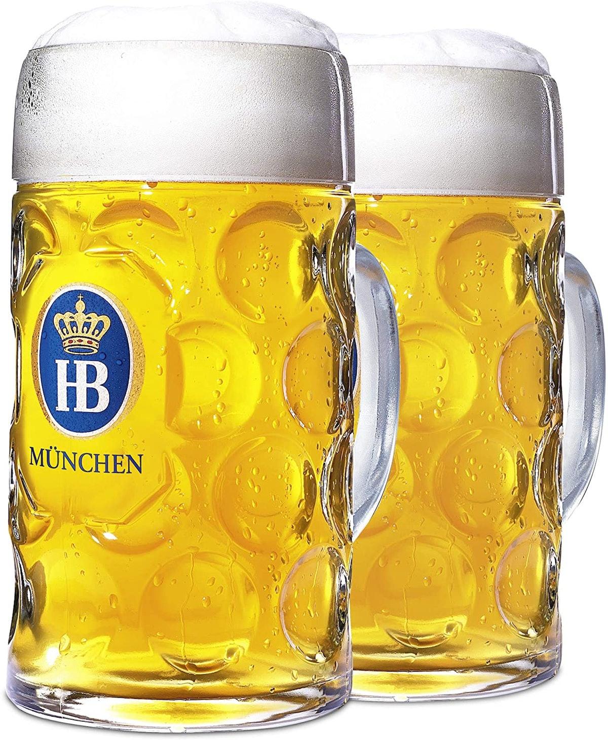 "1 Liter HB ""Hofbrauhaus Munchen"" Dimpled Glass Beer Stein (Pack of 2)"