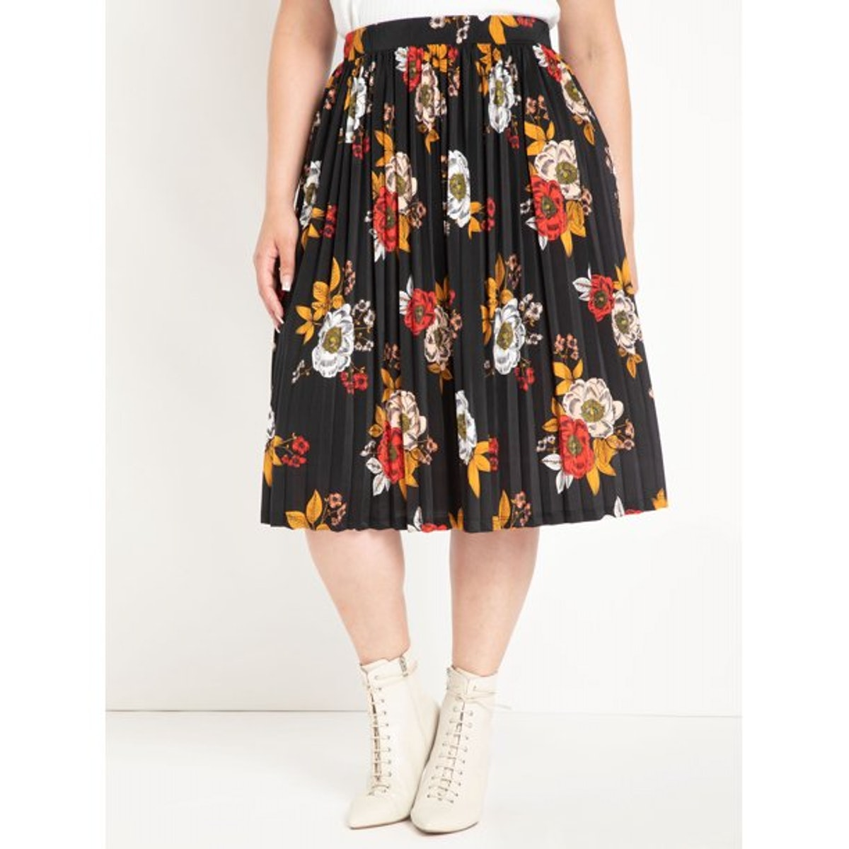 ELOQUII Elements Women's Plus Size Multi Floral Pleated Midi Skirt