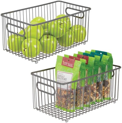 mDesign Set of 2 Extra Large Wire Baskets with Handles