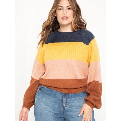 ELOQUII Elements Women's Plus Size Multi Striped Sweater