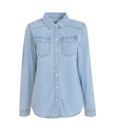 Bright Blue Denim Pocket Front Shirt