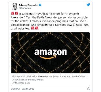 A screenshot of Snowden's tweet.