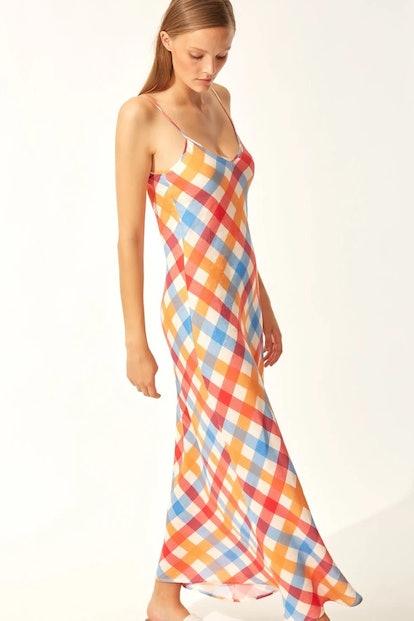 LINEN COLUMN DRESS BEACH PLAID