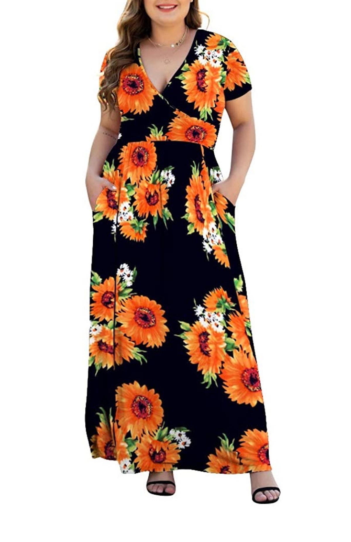 HAOMEILI Plus Size Maxi Dress