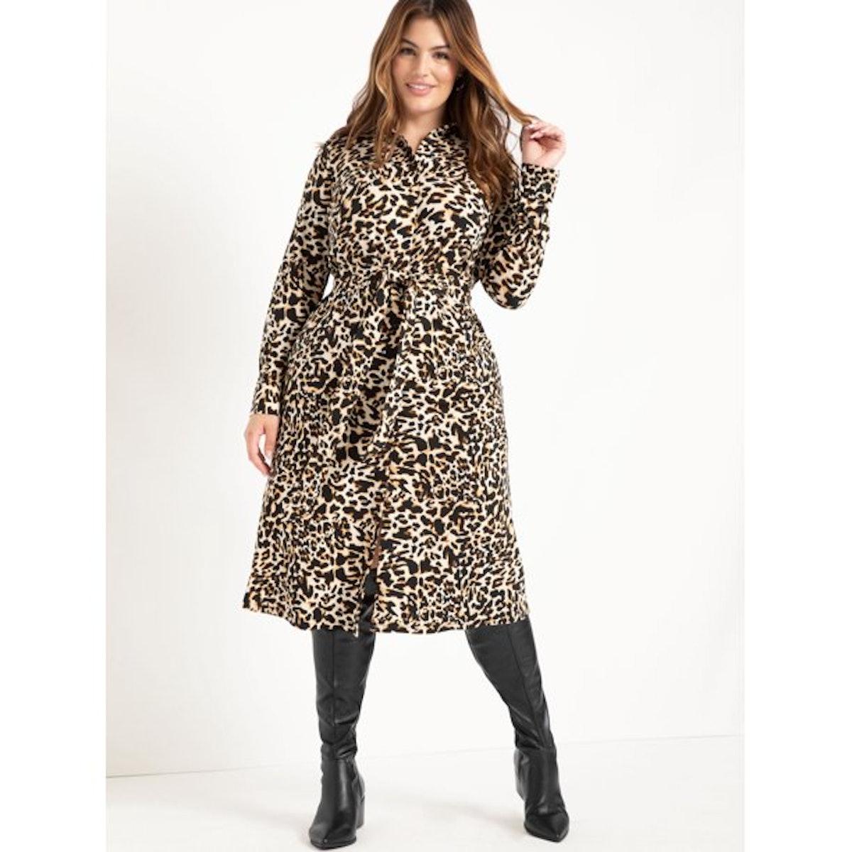 ELOQUII Elements Women's Plus Size Leopard Print Midi Shirtdress