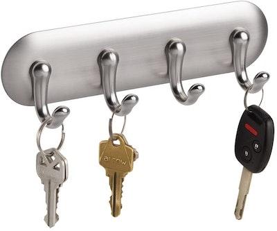 iDesign York Plastic Self-Adhesive 4-Hook Key Rack