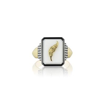 Feather Motif Signet Ring