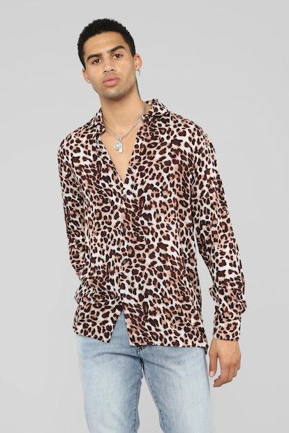 Fashion Nova Too Quick Long Sleeve Shirt - Leopard