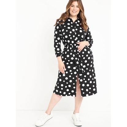 ELOQUII Elements Women's Plus Size Polka Dot Midi Shirtdress