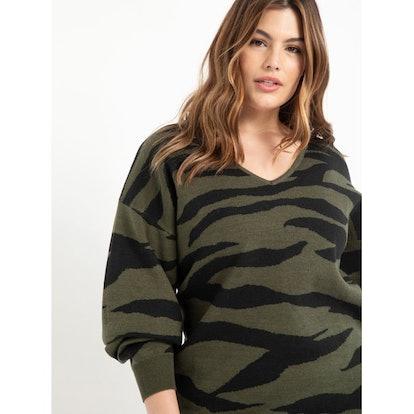 ELOQUII Elements Women's Plus Size Zebra Print Tunic Sweater