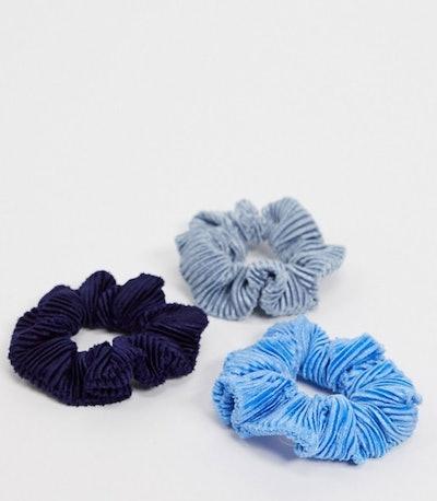 Pack of 3 Pleated Velvet Scrunchies in Blue Tones