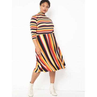ELOQUII Elements Women's Plus Size Stripe Fit and Flare Dress