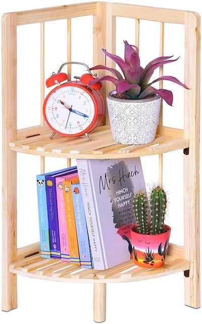 EVELYN LIVING Natural Wood Corner Shelf