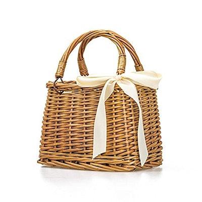 Docot Natural Hand-Woven Rectangular Wicker Handbag