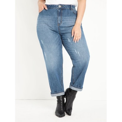 ELOQUII Elements Women's Plus Size Distressed Mom Jeans
