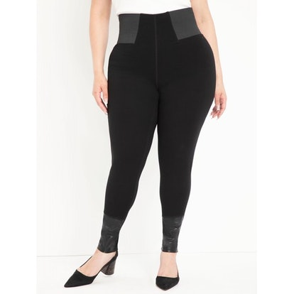 ELOQUII Elements Women's Plus Size Ponte Leggings with Faux Leather Detail