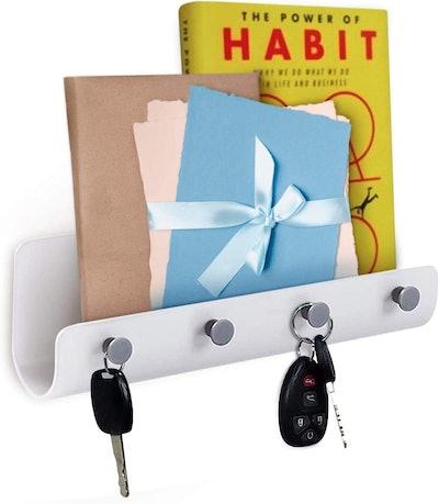 Hivory Self-Adhesive Wall-Mounted Mail Holder With Key Hooks