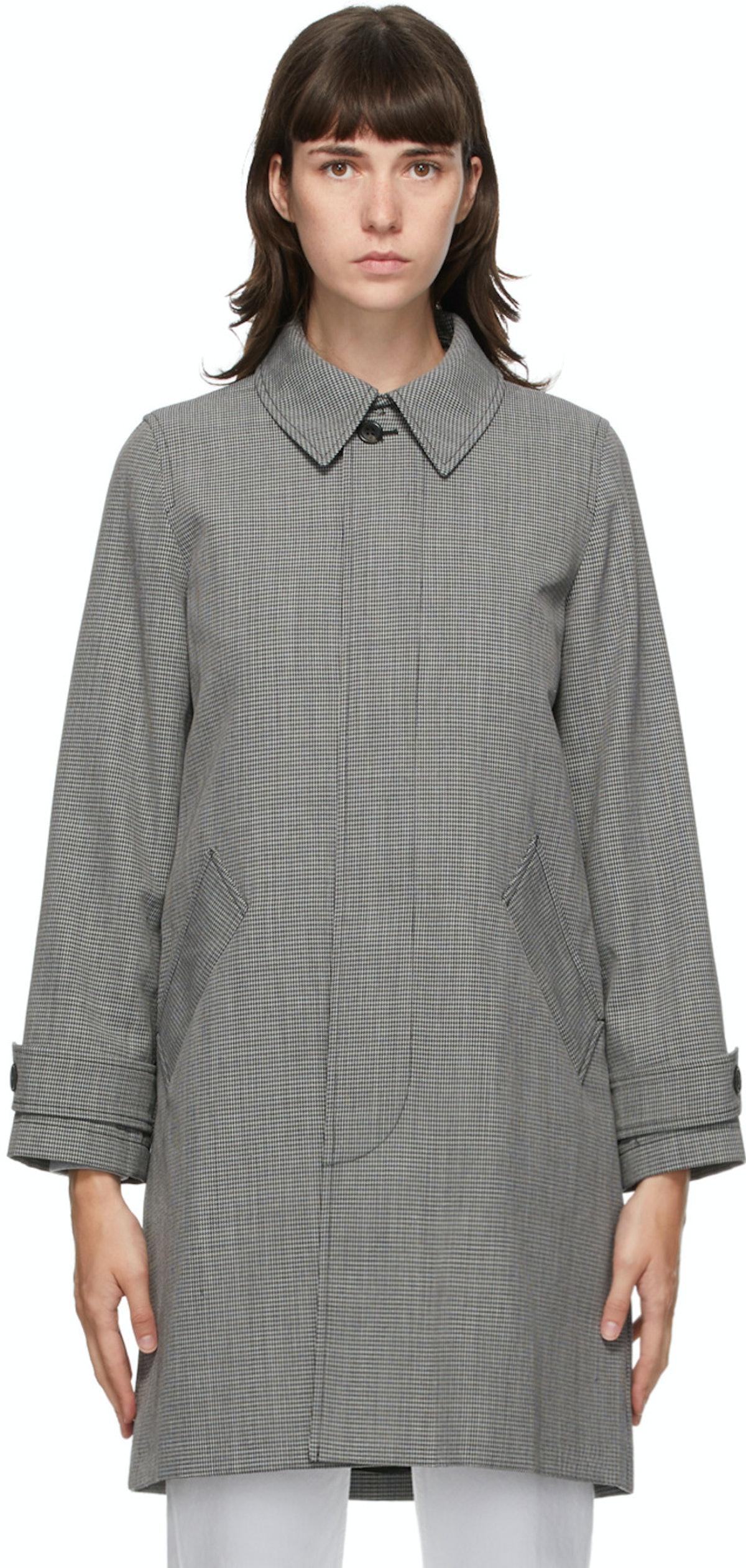Black & Grey Houndstooth Dinard Coat