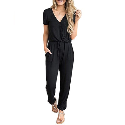 PRETTYGARDEN V-Neck Short Sleeve Jumpsuit