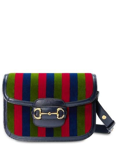 Gucci 1955 Horsebit Velvet & Leather Bag