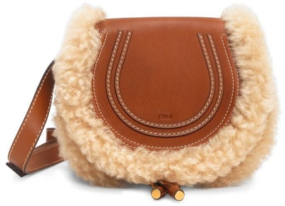 Chloé Small Marcie Shearling-Trimmed Leather Saddle Bag