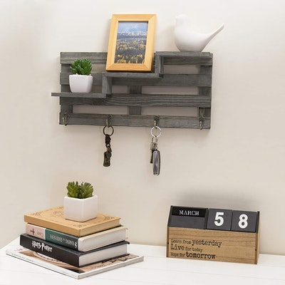MyGift Wood Wall-Mounted Stair Display Shelf With Key Hooks