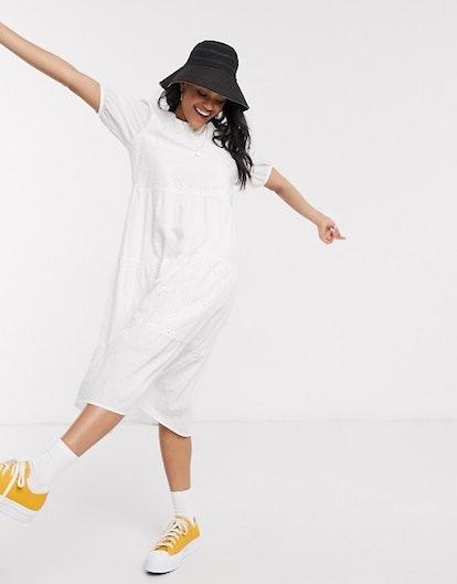 New Look Broderie Smock Midi Dress in White
