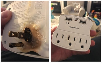 An Amazon-branded surge protector that exploded.